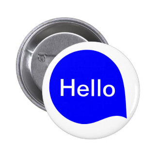 Word Bubble - Blue on White 6 Cm Round Badge