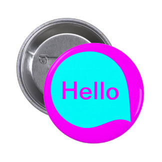 Word Bubble - Cyan on Magenta 6 Cm Round Badge