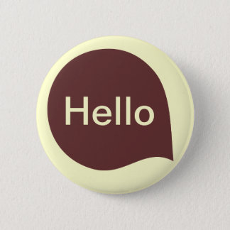 Word Bubble - Dark Brown on Pale Yellow 6 Cm Round Badge