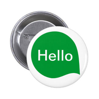 Word Bubble - Grass Green on White Pinback Buttons