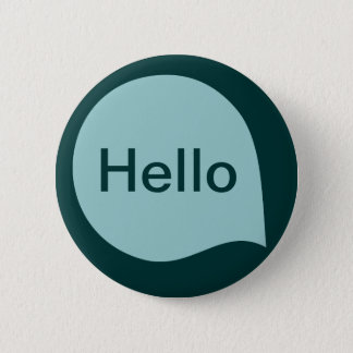 Word Bubble - Lt Blue Green on Dk Moss Green 6 Cm Round Badge