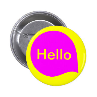 Word Bubble - Magenta on Yellow Pinback Button