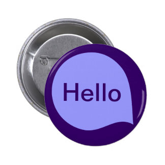 Word Bubble - Pastel Blue on Deep Purple 6 Cm Round Badge