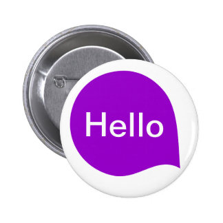 Word Bubble - Purple on White 6 Cm Round Badge