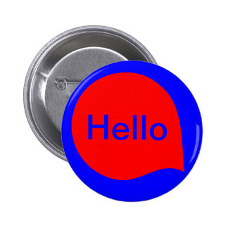 Word Bubble - Red on Blue Pinback Button