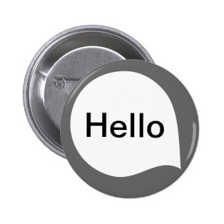 Word Bubble - White on Grey 6 Cm Round Badge