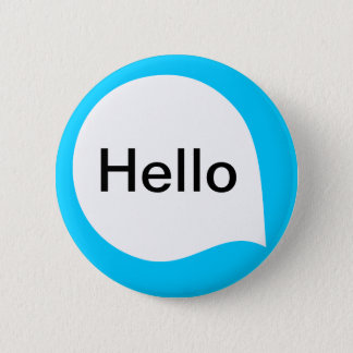 Word Bubble - White on Sky Blue 6 Cm Round Badge