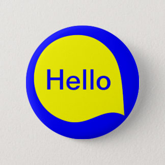 Word Bubble - Yellow on Blue 6 Cm Round Badge