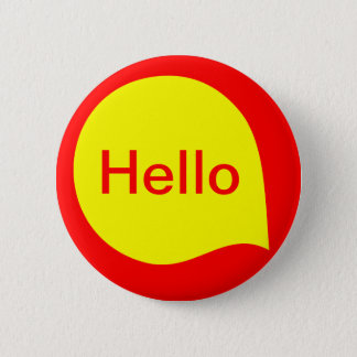 Word Bubble - Yellow on Red 6 Cm Round Badge