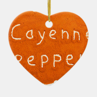 Word Cayenne pepper written in powder Ceramic Heart Decoration