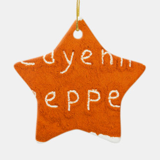 Word Cayenne pepper written in powder Ceramic Ornament