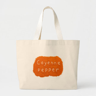 Word Cayenne pepper written in powder Large Tote Bag