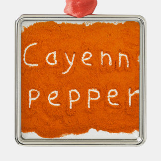 Word Cayenne pepper written in powder Metal Ornament