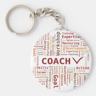 Word Cloud Coach Skills Expertise - Red Orange Basic Round Button Key Ring