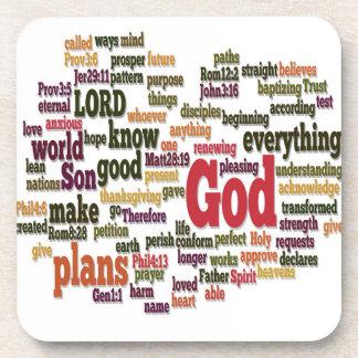 Word Cloud for Top 10 Bible Verses Coaster