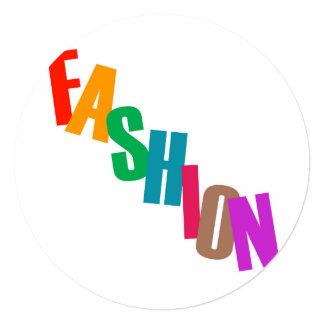 Word fashion in colorful letters 13 cm x 13 cm square invitation card