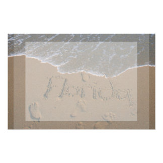 Word Florida in beach sand with wave coming Stationery