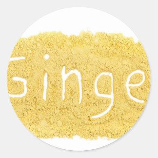 Word Ginger written in spice powder Classic Round Sticker