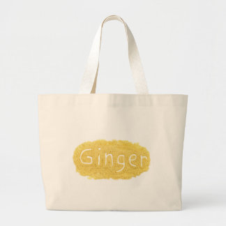Word Ginger written in spice powder Large Tote Bag