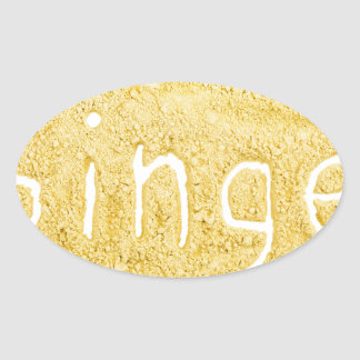 Word Ginger written in spice powder Oval Sticker