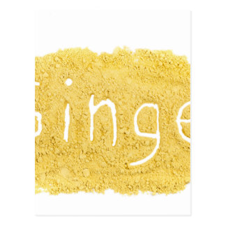 Word Ginger written in spice powder Postcard