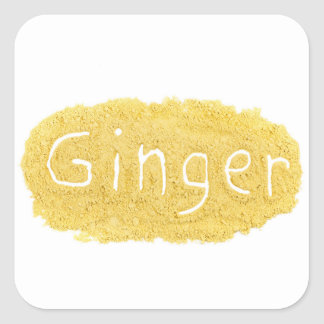 Word Ginger written in spice powder Square Sticker
