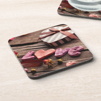 Word Love with Heart Shaped Valentine's Day Gift Beverage Coaster