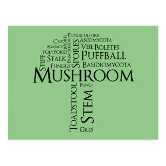 Word Mushroom Postcard (Black Text)