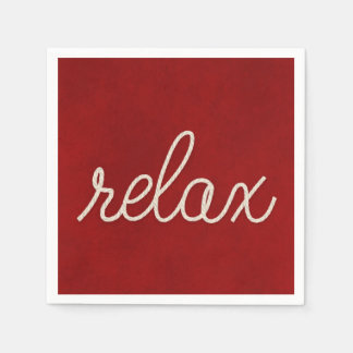 word RELAX in white nautical rope Disposable Serviettes