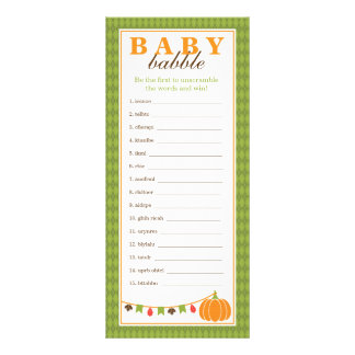 Word Scramble Game, Baby Shower Game Rack Card
