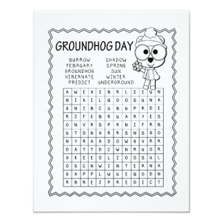 Word Search Groundhog Day Party Invitation