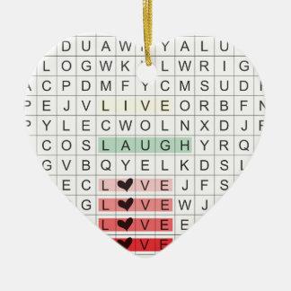 Word Search Love Ceramic Ornament