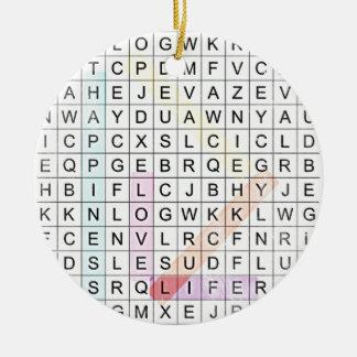 Word Search Round Ceramic Decoration
