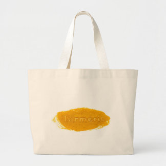 Word Turmeric written in powder on white backgroun Large Tote Bag