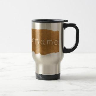Word written in Cinnamon powder on white backgroun Travel Mug