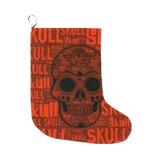 WordArt Skull B Large Christmas Stocking