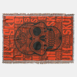 WordArt Skull B Throw Blanket