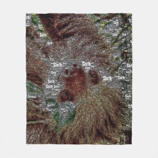 WordArt Sloth Fleece Blanket