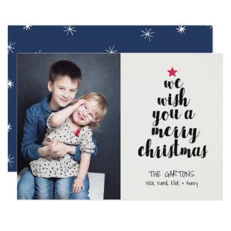 Worded Christmas Tree Holiday Photo Card 13 Cm X 18 Cm Invitation Card