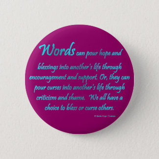 words 6 cm round badge