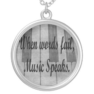 words fail piano music design round pendant necklace