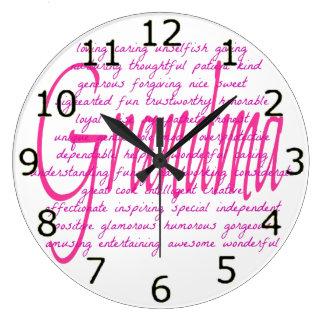 Words For Grandma Large Clock