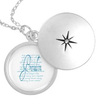 Words for Grandson in Blue Round Locket Necklace