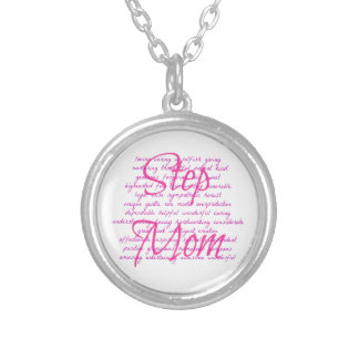 Words For Step Mom Silver Plated Necklace