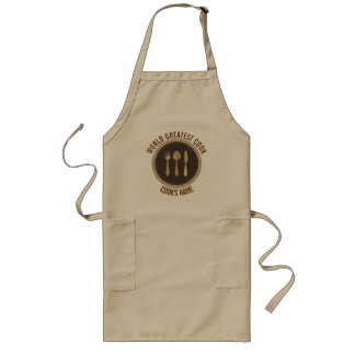Words Greatest Cook- Diner Plate Brown & Beige Long Apron