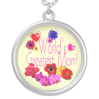 Word's Greatest Mom! Round Pendant Necklace