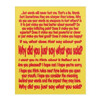 Words Hurt Acrylic Print