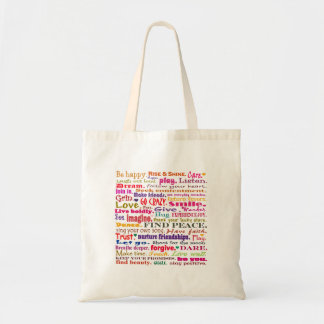 words in red square budget tote bag