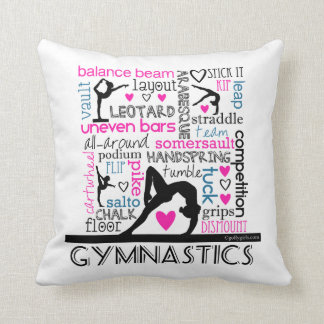 Words of Gymnastics Terminology Throw Pillow