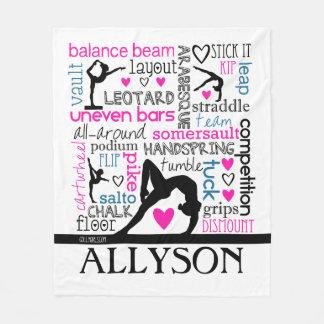 Words of Gymnastics Terminology w/ Monogram Fleece Blanket